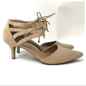 Fioni Tan Ankle Strap Pointed Toe Lace Up Heels 8